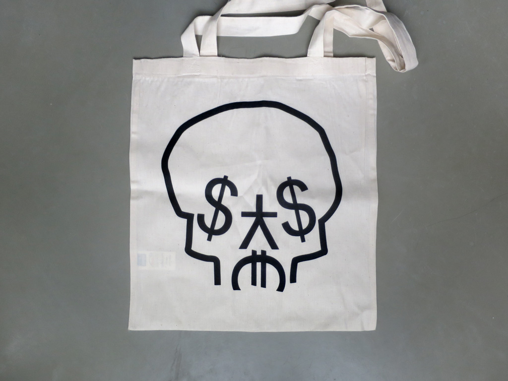 Claude Closky, '$¥$€,' 2016, Paris: Editions 2-909043. Digital print on cotton bag, 41 x 37 cm.