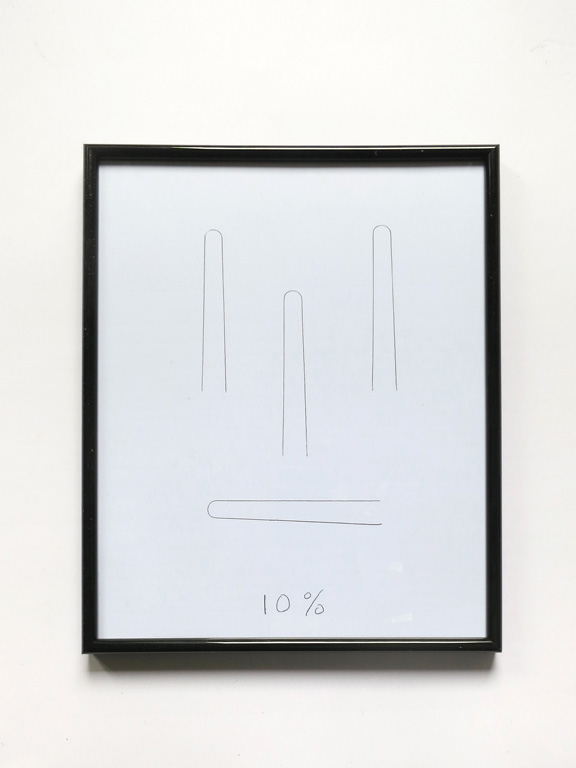 Claude Closky, '10%', 2014, black ballpoint pen on paper, black plastic frame, 31 x 25 cm.