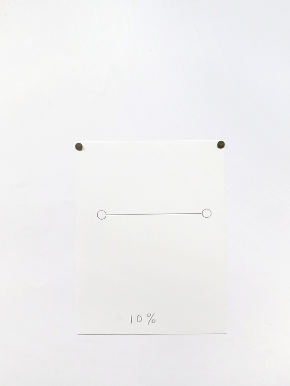 Claude Closky, '10%', 2014, black ballpoint pen on paper, drawing pins, 24 x 18 cm.