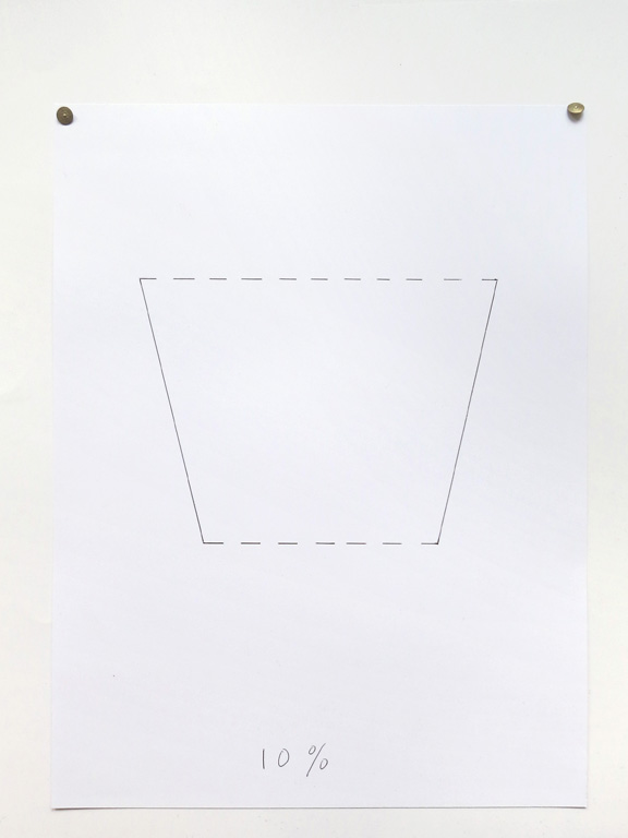 Claude Closky, '10%', 2014, black ballpoint pen on paper, drawing pins, 40 x 30 cm.
