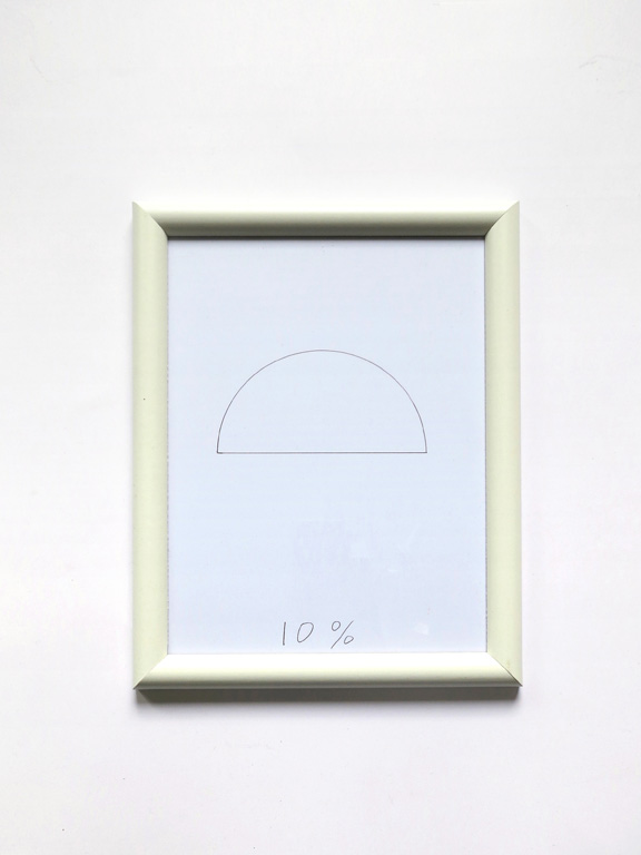 Claude Closky, '10%', 2014, black ballpoint pen on paper, wood frame painted white, 27,5 x 20,5 cm.