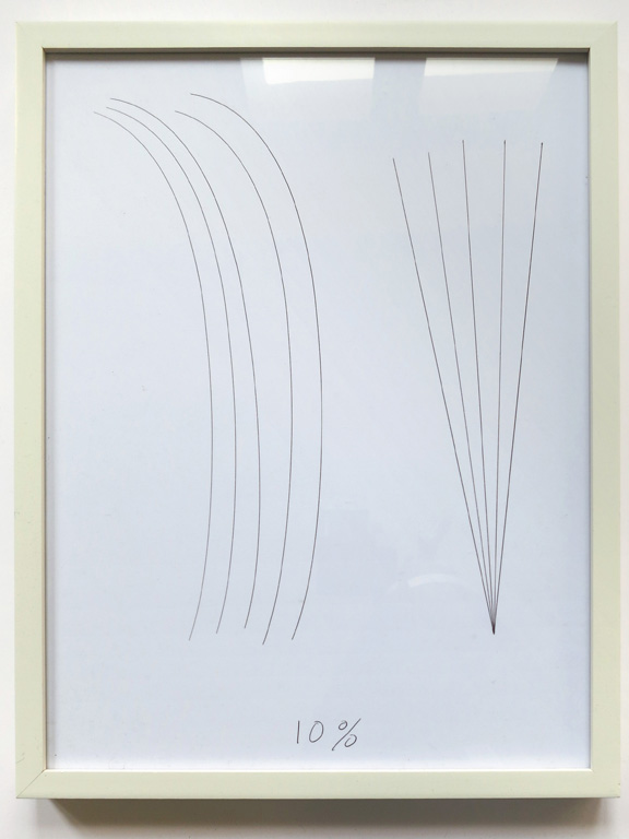 Claude Closky, '10%', 2014, black ballpoint pen on paper, wood frame painted white, 42,5 x 32,5 cm.