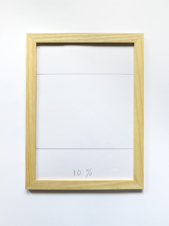 Claude Closky, '10%', 2014, black ballpoint pen on paper, wood frame, 32,5 x 24 cm.