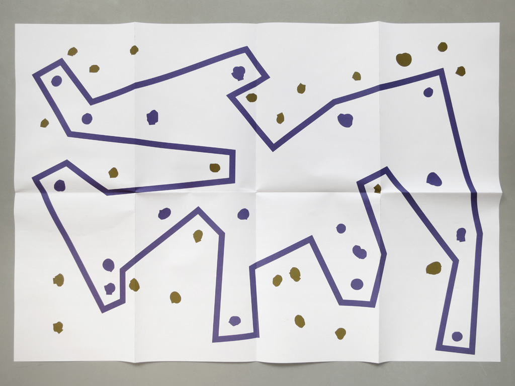 Claude Closky, '2 Constellations', 2013, Brussels: MOREpublishers. Double side offset print on multi-offset 120 gr. printed in Ghent, 59,4 x 84,1 cm, folded to 29,7 x 21 cm.