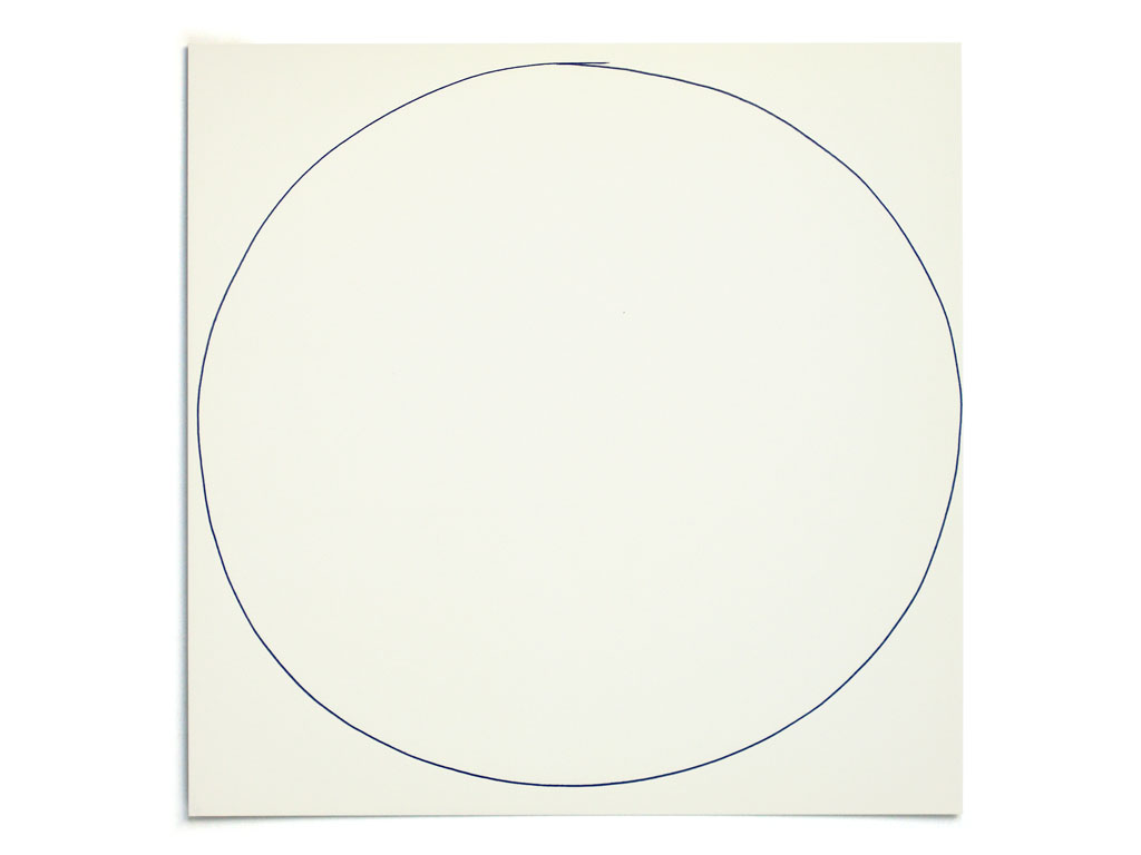 Claude Closky, '2,000 attempts at drawing a big circle', 1998, invitation card, CNEAI, Chatou, 2,000 handmade blue ball-point circles on printed matter, 19 x 19 cm.