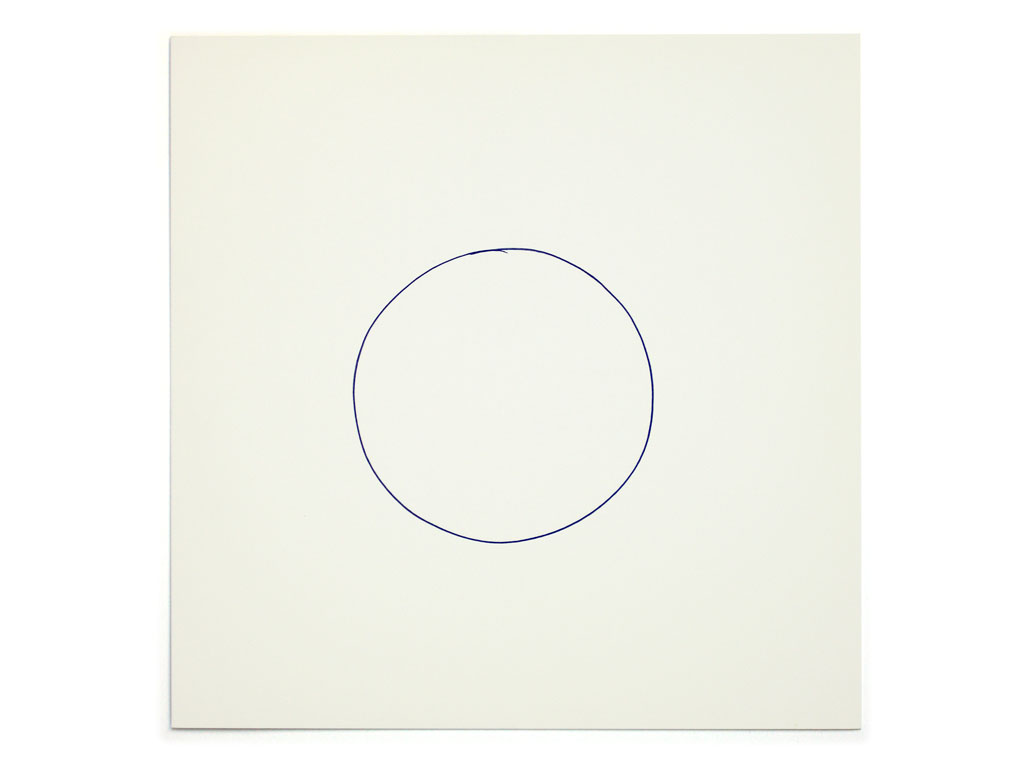 Claude Closky, '2,000 attempts at drawing a small circle', 1998, invitation card, CNEAI, Chatou, 2,000 handmade blue ball-point circles on printed matter, 19 x 19 cm.