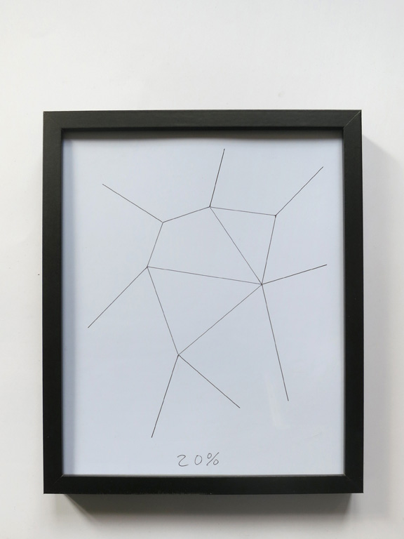 Claude Closky, '20%', 2014, black ballpoint pen on paper, wood frame painted black, 32,5 x 26 cm.