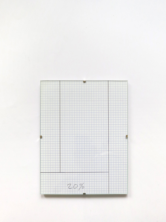 Claude Closky, '20%', 2014, black ballpoint pen on grid paper, clip-frame, 24 x 18 cm.