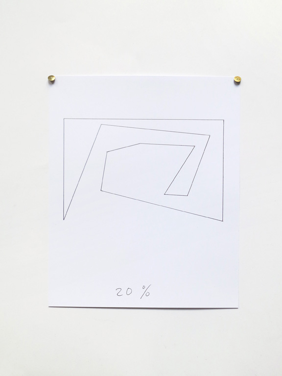 Claude Closky, '20%', 2014, black ballpoint pen on paper, drawing pins, 30 x 24 cm.