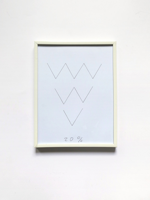 Claude Closky, '20%', 2014, black ballpoint pen on paper, white plastic frame, 25 x 19 cm.
