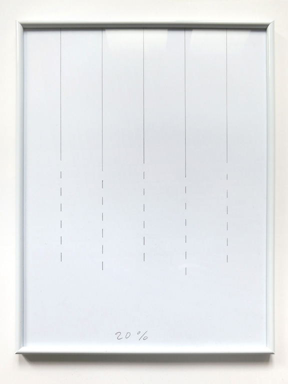 Claude Closky, '20%', 2014, black ballpoint pen on paper, white plastic frame, 41,5 x 31,5 cm.