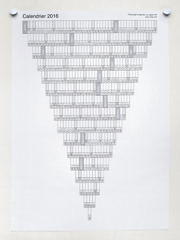 Claude Closky, '2016 Calendar,' 2015, edition www.sittes.net, Pdf file to be printed on A4 paper (http://closky.downloads.online.fr/2016), 29,7 x 21 cm.