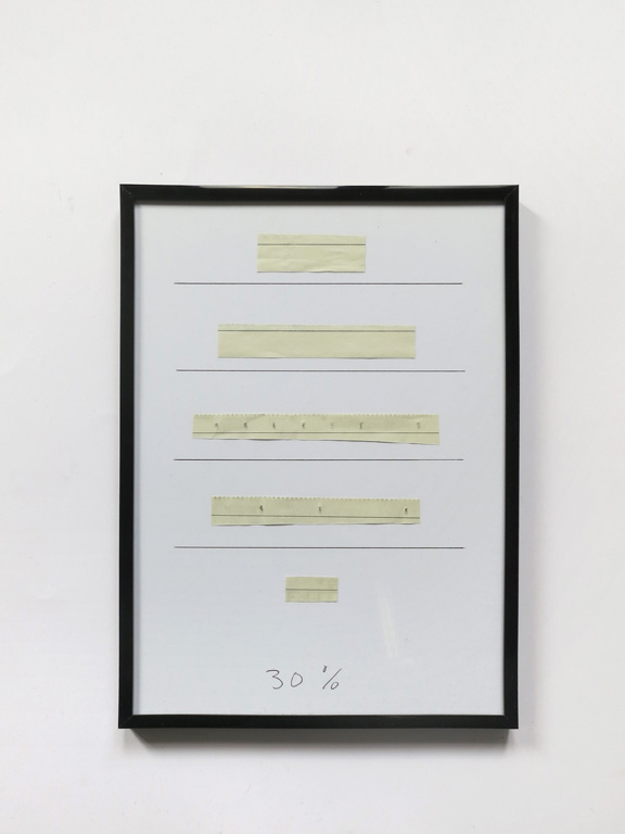 Claude Closky, '30%', 2014, black ballpoint pen on paper, black plastic frame, 31,5 x 22,5 cm.
