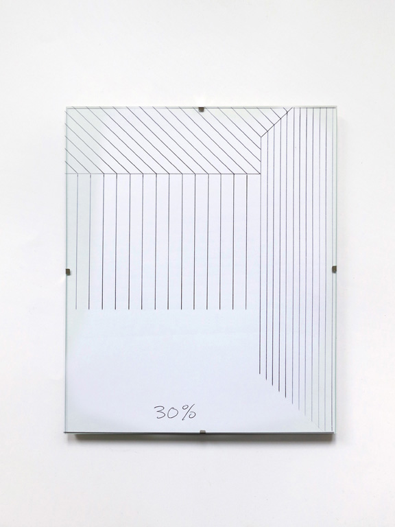 Claude Closky, '30%', 2014, black ballpoint pen on paper, clip-frame, 30 x 24 cm.