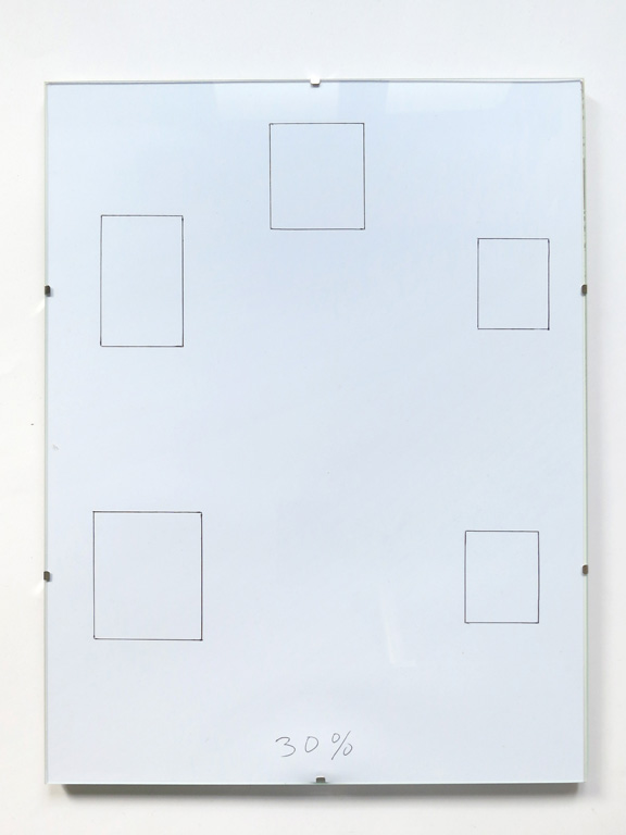 Claude Closky, '30%', 2014, black ballpoint pen on paper, clip-frame, 40 x 30 cm.