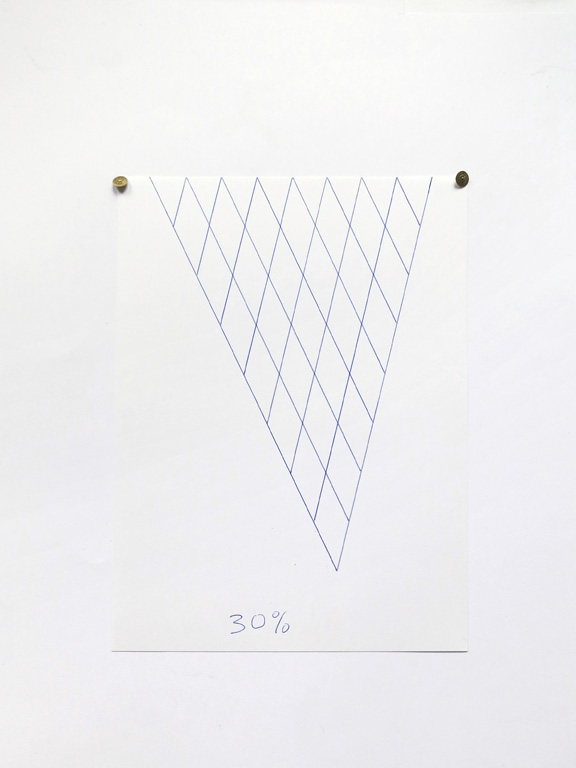 Claude Closky, '30%', 2014, blue ballpoint pen on paper, drawing pins, 30 x 21 cm.