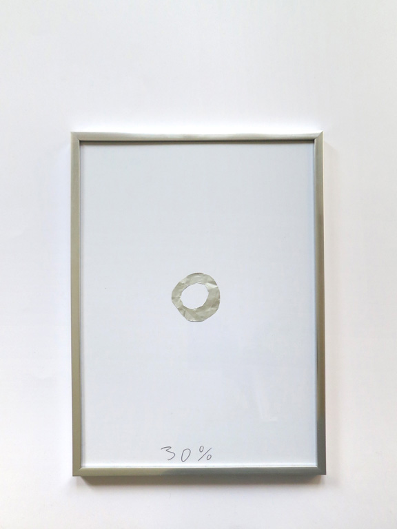 Claude Closky, '30%', 2014, collage (aluminium foil), black ballpoint pen on paper, aluminium frame, 31,5 x 22,5 cm.