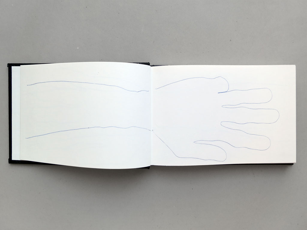 Claude Closky, '32 hands', 1992, black ballpoint pen on sketch pad, 200 pages, 14 x 25 cm.