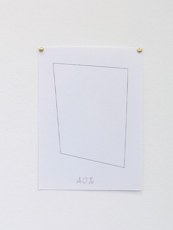 Claude Closky, '40%', 2014, black ballpoint pen on paper, drawing pins, 30 x 21 cm.