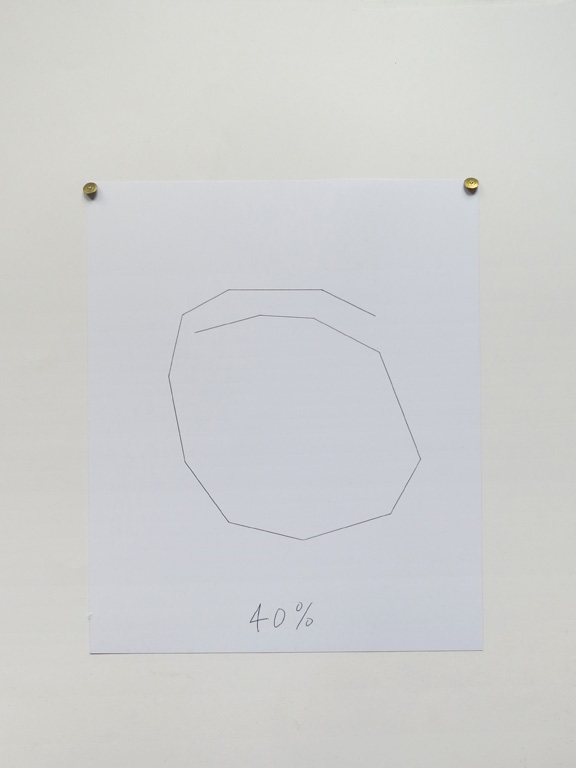 Claude Closky, '40%', 2014, black ballpoint pen on paper, drawing pins, 30 x 24 cm.