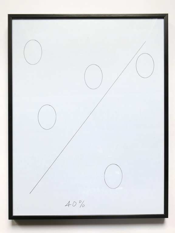 Claude Closky, '40%', 2014, black ballpoint pen on paper, black plastic frame, 41x 31 cm.