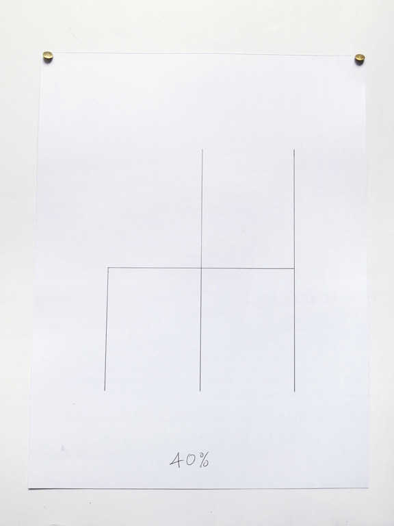 Claude Closky, '40%', 2014, black ballpoint pen on paper, drawing pins, 40 x 30 cm.