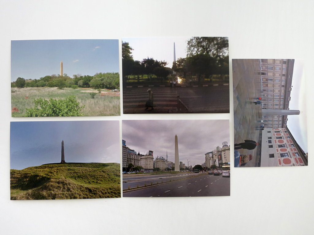 Claude Closky, '5 continent (Obelisk)', 2012-2015, five postcards, offset print on 350 g. card, each 10,5 x 15 cm.