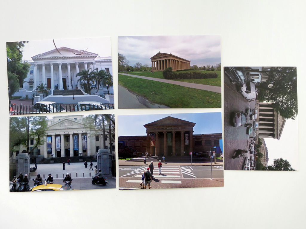 Claude Closky, '5 continent (Parthenon)', 2012-2015, five postcards, offset print on 350 g. card, each 10,5 x 15 cm.