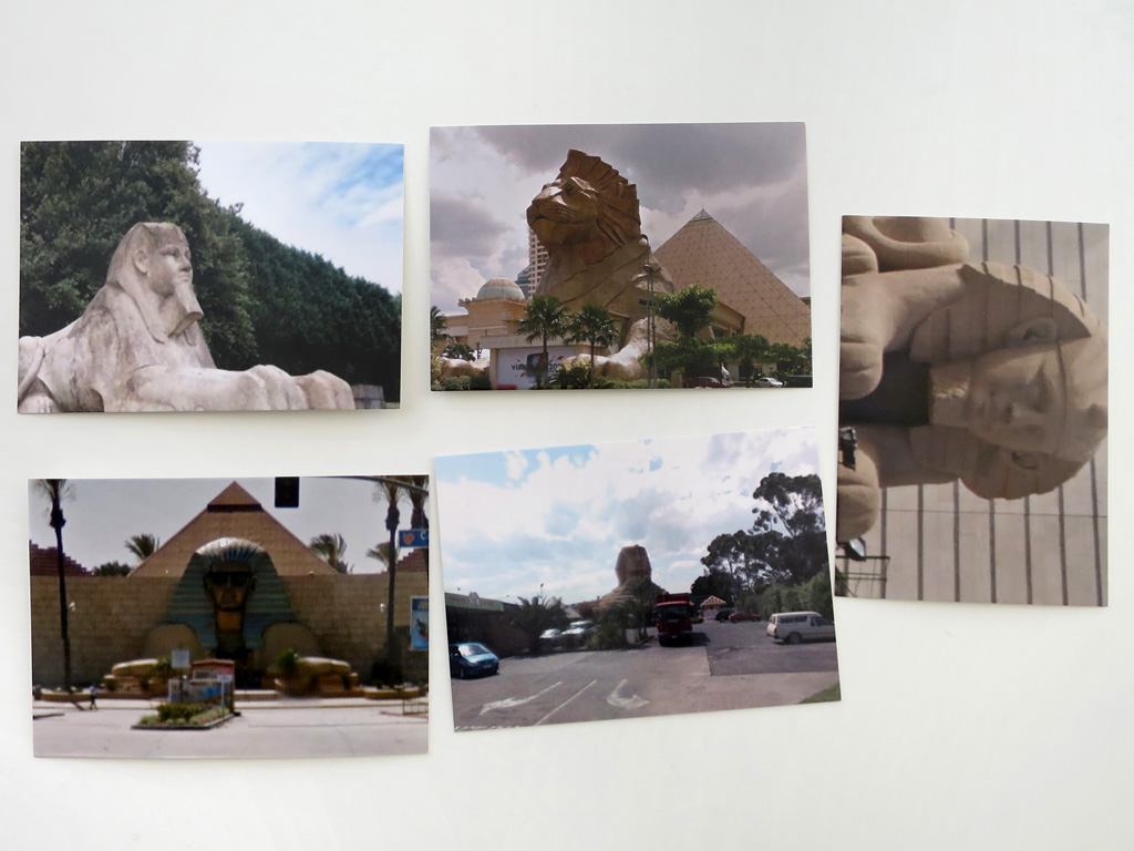 Claude Closky, '5 continent (Sphinx)', 2012-2015, five postcards, offset print on 350 g. card, each 10,5 x 15 cm.