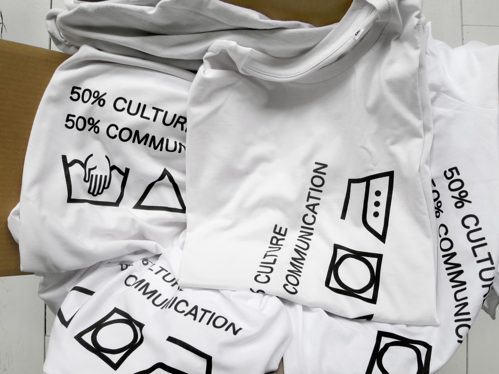 Claude Closky, '50% culture, 50% communication,' 2017, 2 t-shirts for Nouvelle Collection, Paris, XXL.