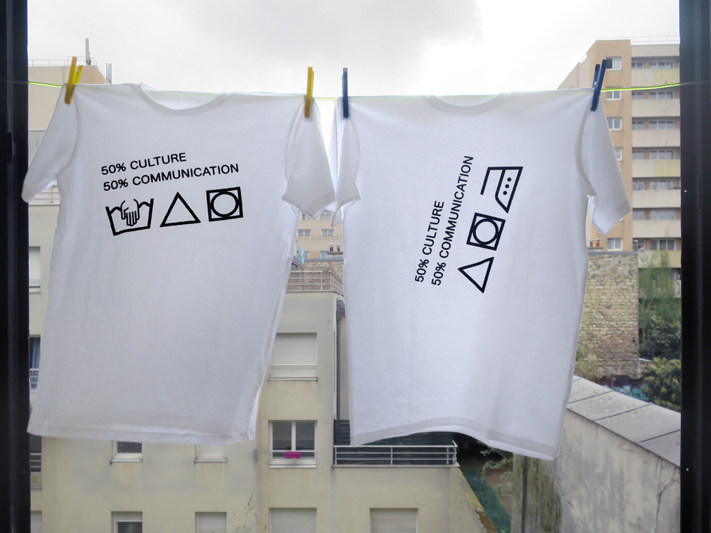 Claude Closky, '50 per cent culture, 50 per cent communication,' 2017, 2 t-shirts, XXL.