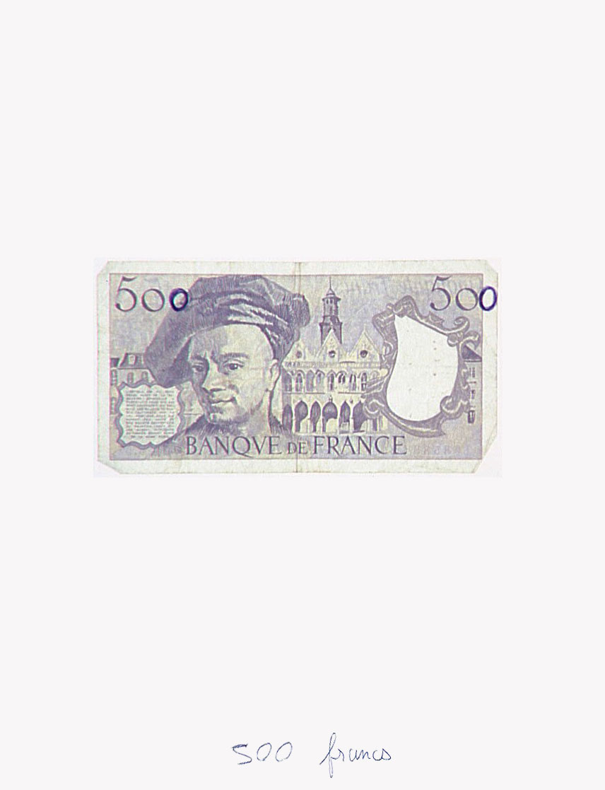 Claude Closky, '500 francs', 1992, banknote, ballpoint pen on paper, 30 x 24 cm.
