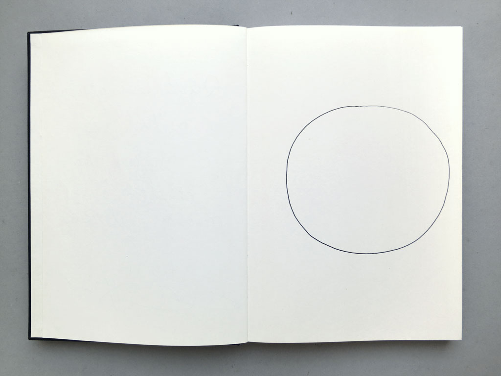 Claude Closky, '82 attempts at drawing a circle freehand', 1991, ballpoint pen on sketch pad, 164 pages, 21,5 x 14,5 cm.