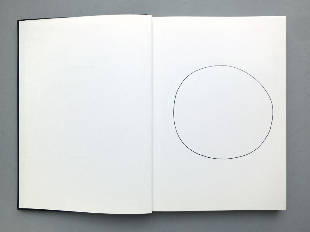 Claude Closky, '82 attempts at drawing a circle freehand', 1991, ballpoint pen on sketch pad, 162 pages, 21,5 x 14,5 cm.
