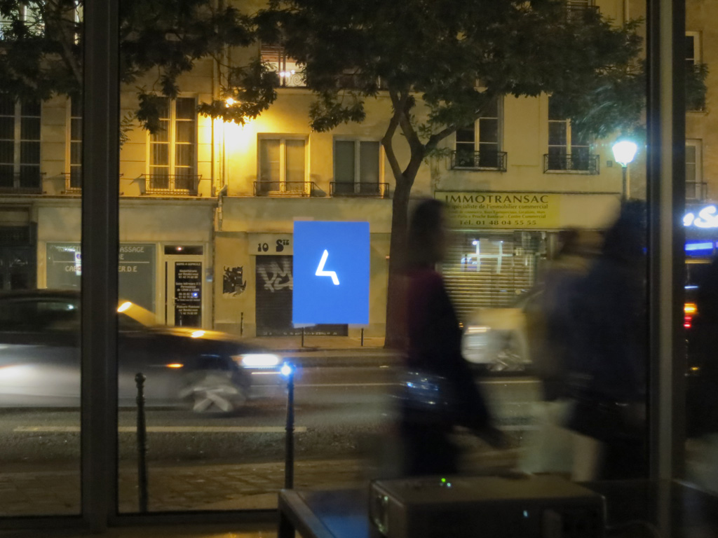 Claude Closky, 'AH', 2013, video retroprojection on a street window, unlimited duration.