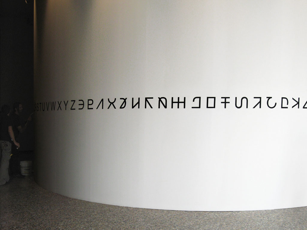 Claude Closky, 'Alphabet', 2008, wall painting, dimensions variable. Exhibition view 'Scritture Silenziose', Palazzo Dugnani, Milan. 23 September - 31 October 2009. Curator: Hervé Mikaeloff