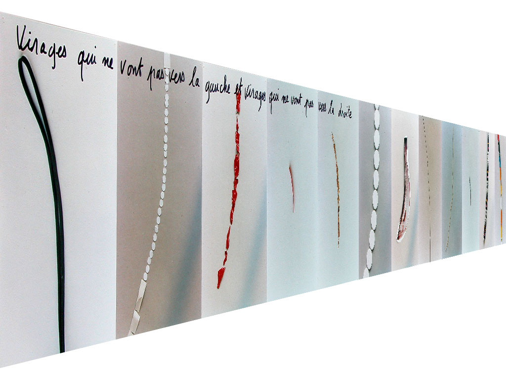 Claude Closky, 'Virages qui ne vont pas vers la gauche et virages qui ne vont pas vers la droite [Bends that don't veer to the right and bends that don't veer to the left]', 1995, c-print, permanent felt pen, 23 x 385 cm (25 prints 22,5 x 15,2 cm).