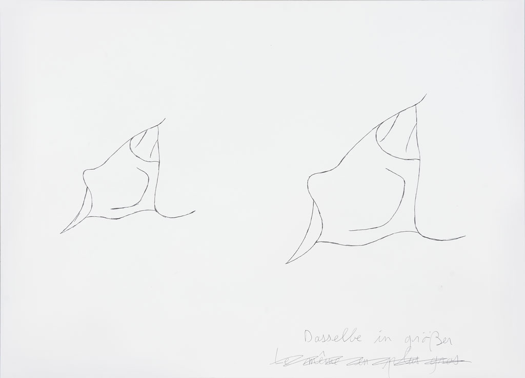 Claude Closky, 'Dasselbe in größer (2) [the same, bigger (2)]', 1996-1998, blue ballpoint pen and collage on paper, 51 x 70 cm.