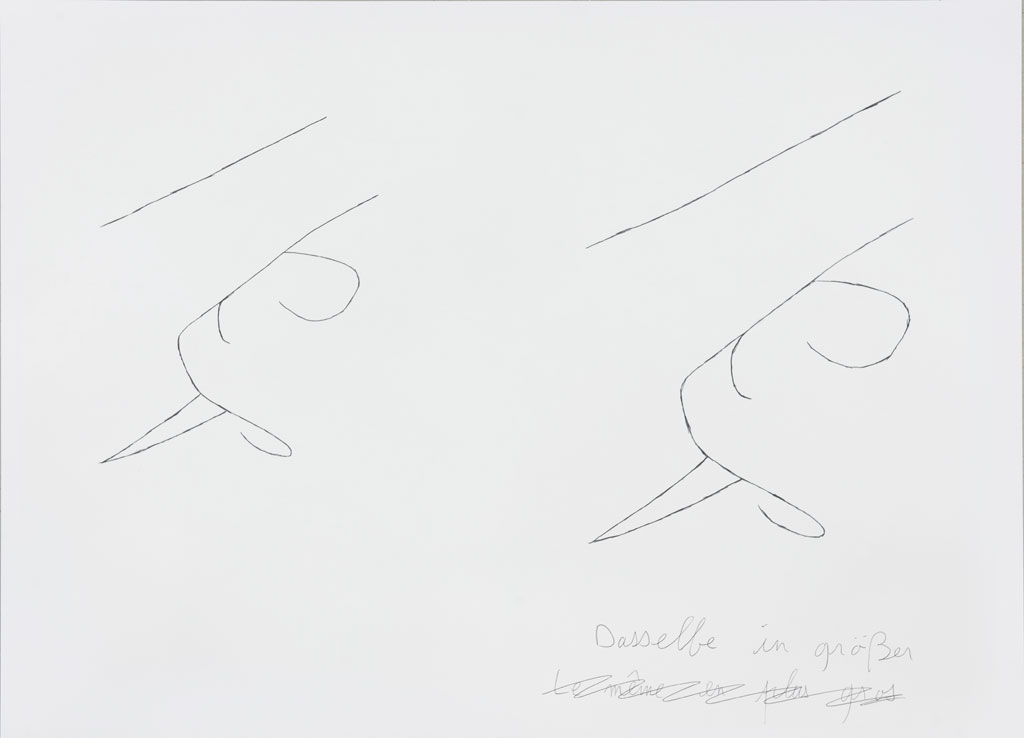 Claude Closky, 'Dasselbe in größer (3) [the same, bigger (3)]', 1996-1998, blue ballpoint pen and collage on paper, 51 x 70 cm.