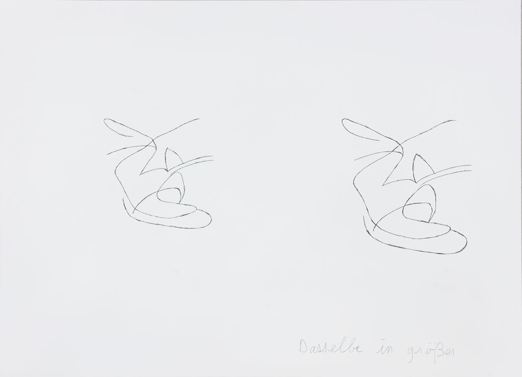 Claude Closky, 'Dasselbe in größer (4) [the same, bigger (4)]', 1996-1998, blue ballpoint pen and collage on paper, 51 x 70 cm.