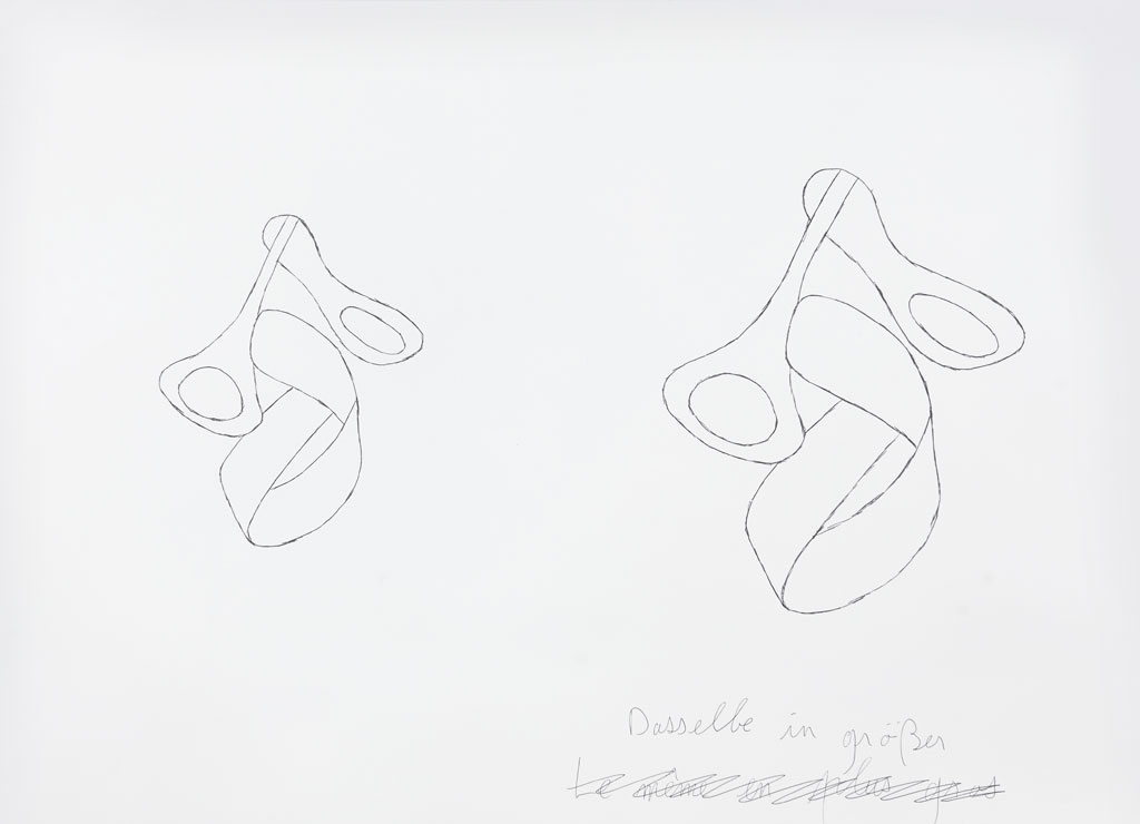 Claude Closky, 'Dasselbe in größer [the same, bigger]', 1996-1998, blue ballpoint pen and collage on paper, 51 x 70 cm.