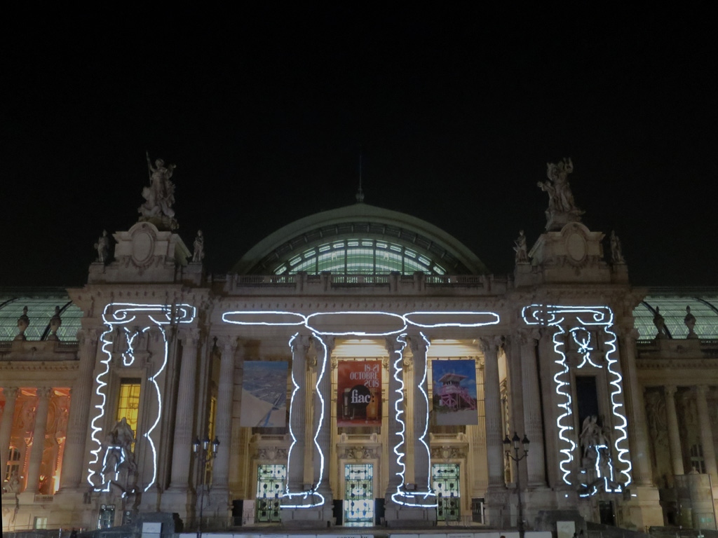 Claude Closky, 'Doric Ionic Corinthian,' 2018, video projection, Processing program by Jean-Noël Lafargue, unlimited duration. Projection on the Grand Palais façade, from the 16th to the 20th of October 2018. Invitation Fiac, video-mapping Atelier Athem