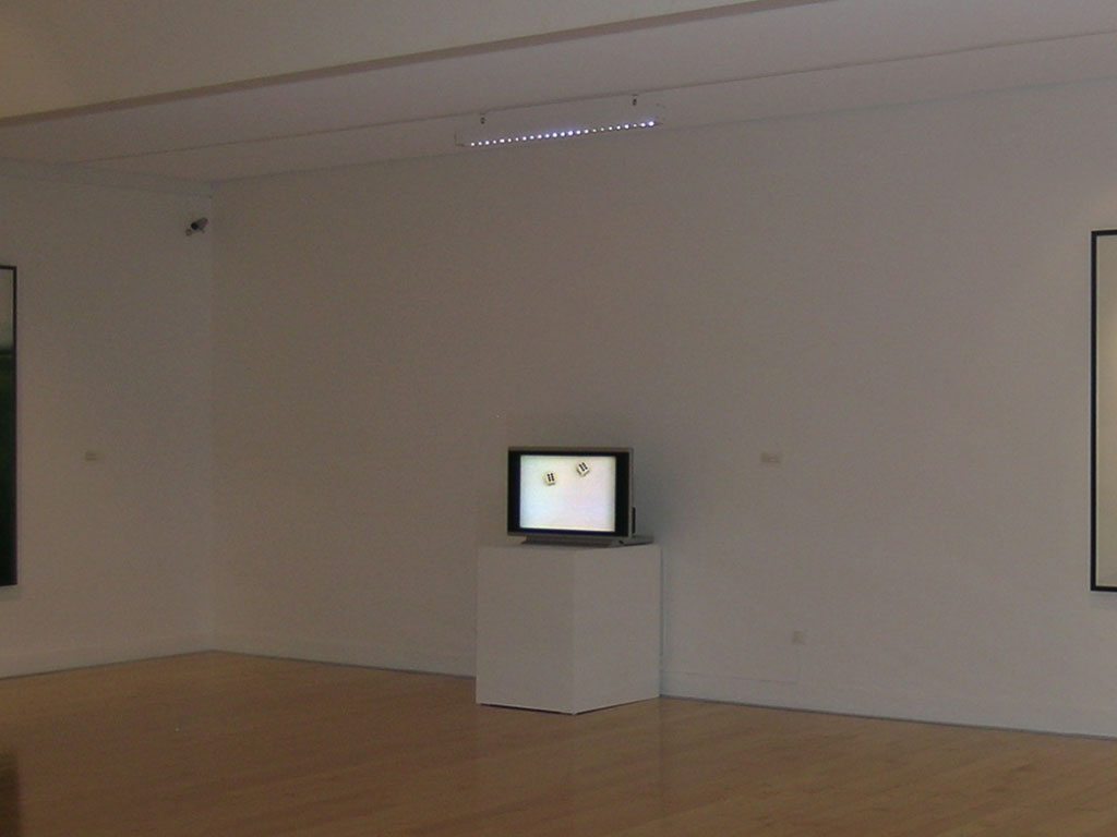 Claude Closky, 'Double six', 1994, monitor, dvd, dvd player, silent, unlimited duration. Exhibition view 'Profils', Benaki Museum, Athens. 13 July - 20 September 2006. Curated by Philippe Piguet