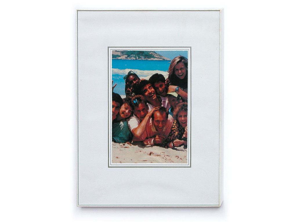 Claude Closky, 'Family Snapshot 10', 1993, collage, plastic frame, 24 x 18 cm.