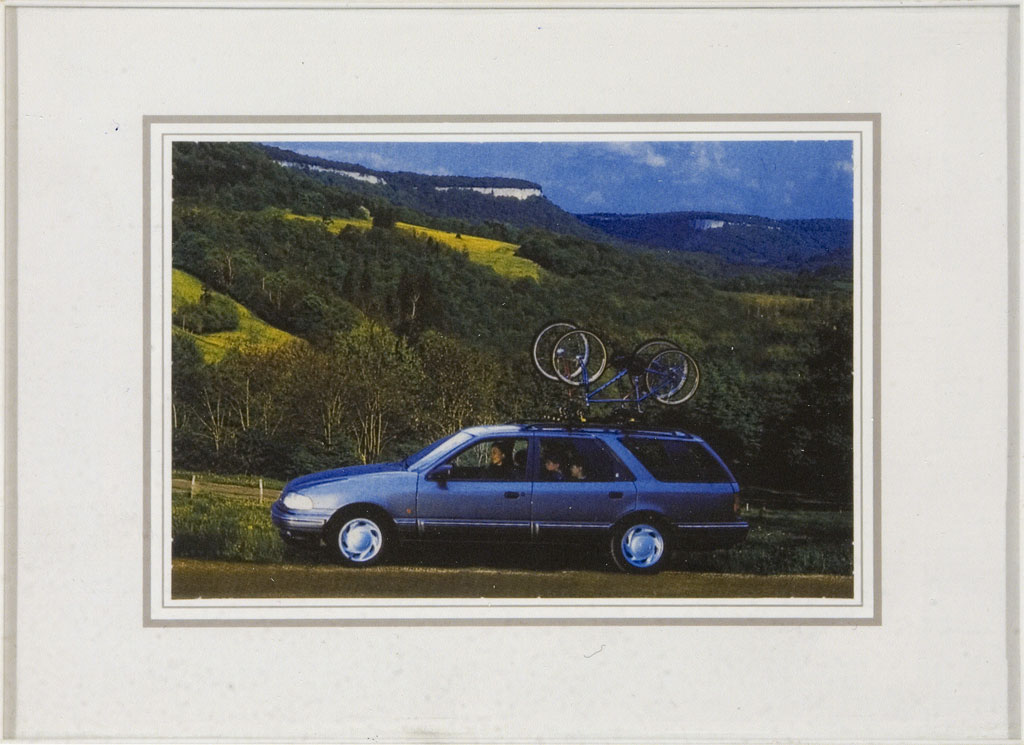 Claude Closky, 'Family Snapshot 4 (Volkswagen)', 1993, collage, plastic frame, 9 x 13 cm.