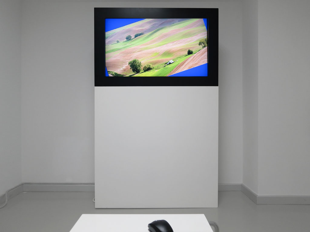 Claude Closky, 'Going Around In Circles (Bourgogne)', 2013, interactive video installation, 16/9 stereo monitor, computer, mouse, table, dimensions variable, unlimited duration. Data programming by Jean-Noël Lafargue. Exhibition view 'Dönüp durmak [Going Around in Circles]', Yeni Medya Sanatları Galerisi, Istanbul. 11 April - 1 June 2013. Curated by Ali Akay