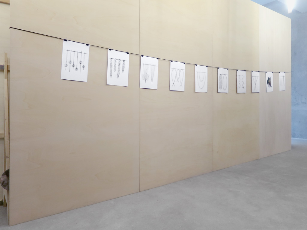 Claude Closky, 'Hanging,' 2018-2019, installation, 300 x 600 cm, black rope (ø 0,3 cm), 10 drawings, black ballpoint pen on paper (40 x 30 cm each), foldback bulldog clips.