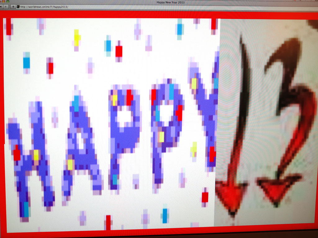 Claude Closky, 'Happy New Year 2013', 2012, web flyer, gif, jpg, mp3, php (http://worldnews.online.fr/happy2013).