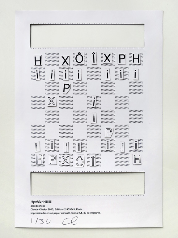 Claude Closky, 'Hpxôîxphiiiiiiii', 2015, chess game. Paris: Editions 2-909043. Laser print on magnetized paper, 29,7 x 21 cm.