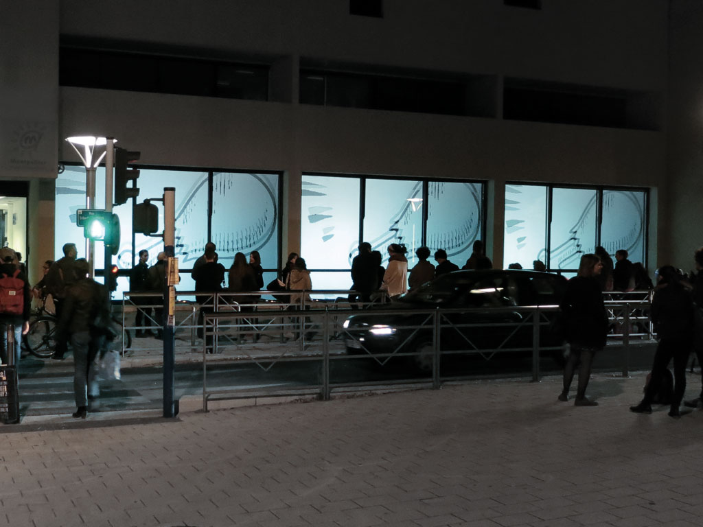 Claude Closky, 'Jackpot,' 2013, street video installation, window projection, 3 video projectors, computer, Processing program by Jean-Noël Lafargue, 400 x 20,000 cm.